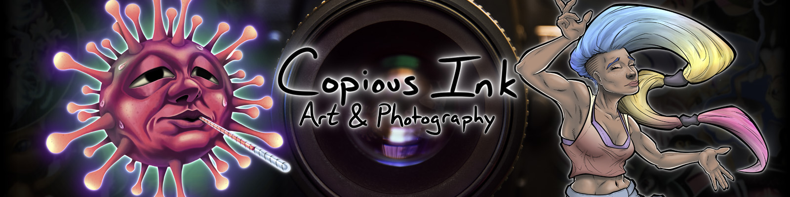 Banner for Copious Ink website featuring a camera lens and illustrations.