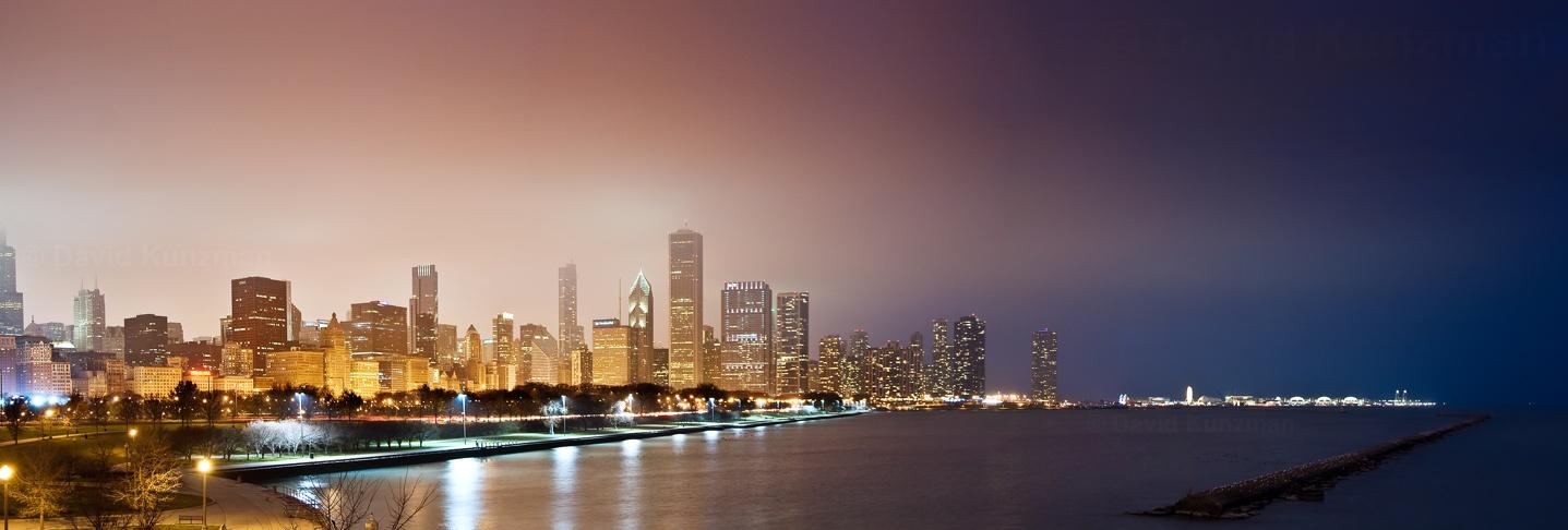 Panorama of the Chicago Skyline taken along the Lake Michigan shoreline near the Shedd Aquarium and Adler Planetarium.