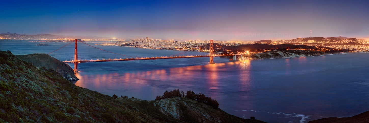 A large, 222-megapixel panorama of the Golden Gate Bridge and San Francisco Bay.  Alcatraz, the San Francisco skyline, and other landmarks can be seen as well.