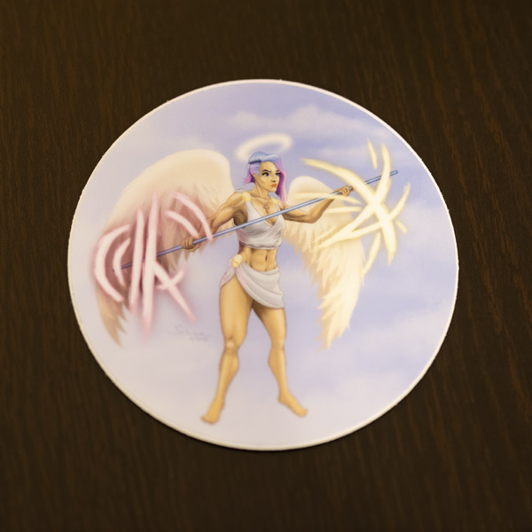 Photo of the angel warrior sticker available in the Copious Ink Etsy store.