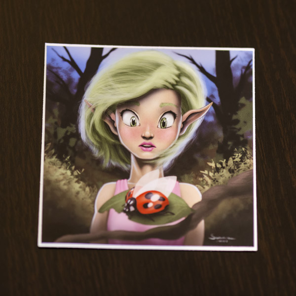 Photo of the elf woman and lady bug sticker available in the Copious Ink Etsy store.