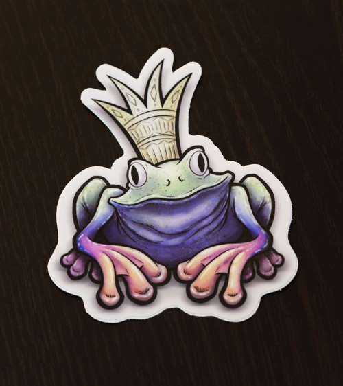 Frog prince sticker available for purchase at the Copious Ink Etsy store.