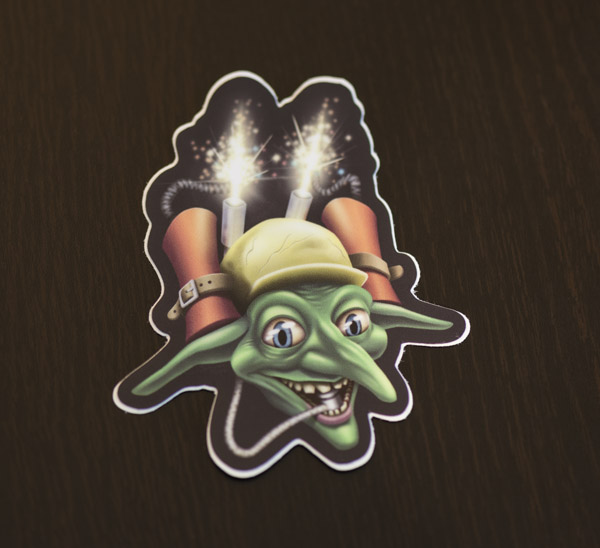 Photo of the goblin bomber sticker available in the Copious Ink Etsy store.