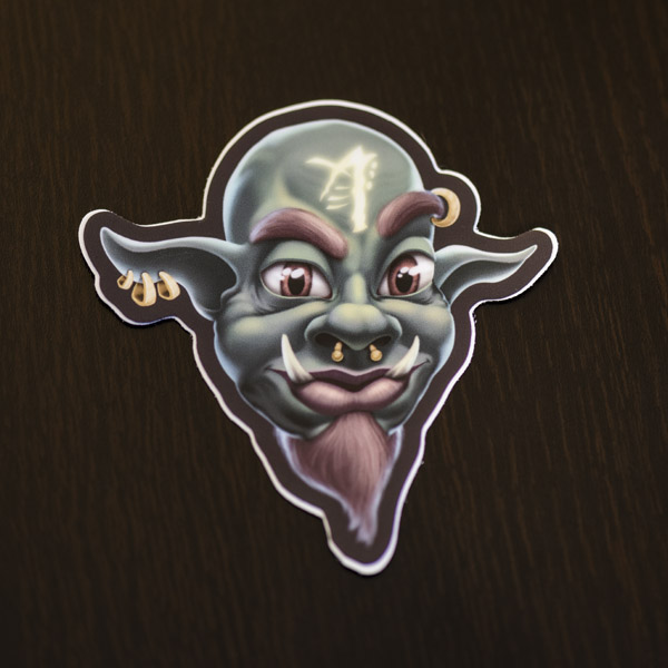 Photograph of the orc mage sticker available in the Copious Ink Etsy store.